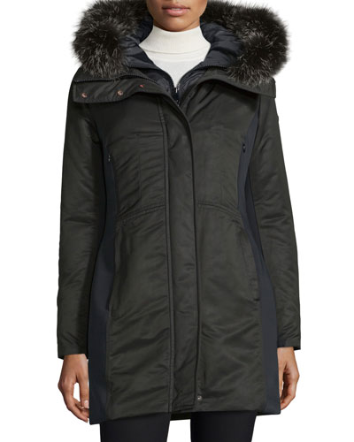 Hooded Ponte-Trim Parka, Nero