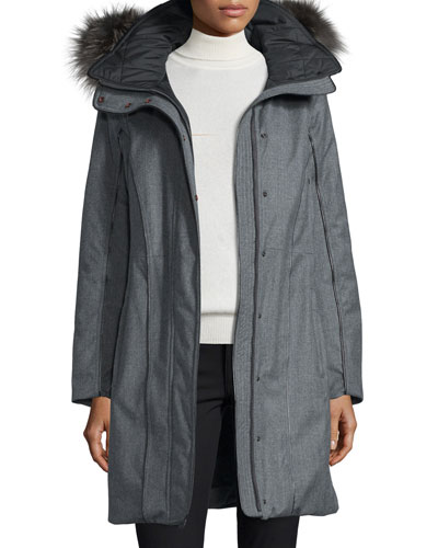 Hooded Wool Fur-Trim Parka, Charcoal