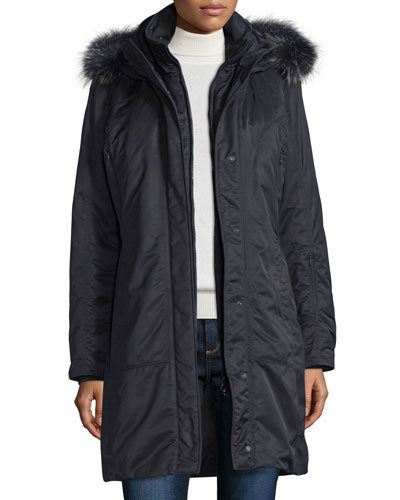 Hooded Fur-Trim Parka, Navy
