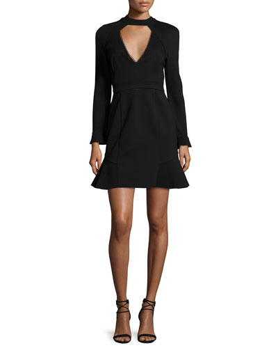 Long-Sleeve Lace-Trim Mini Dress, Black
