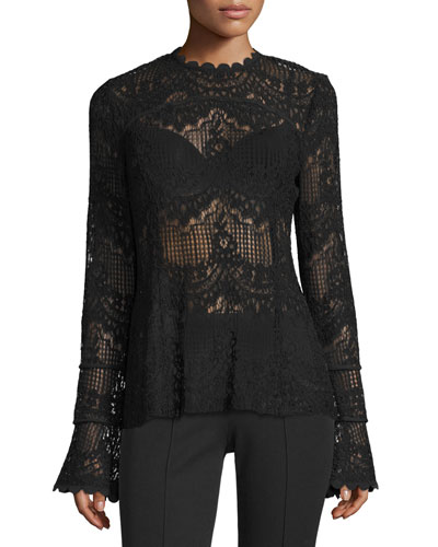 Scalloped Lace Long-Sleeve Top, Black