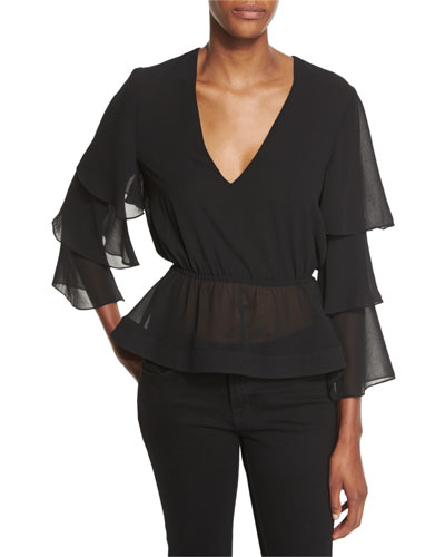 Tiered-Sleeve V-Neck Top, Black