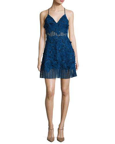 Bellini Sleeveless Lace Dress, Navy