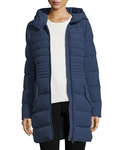 Hooded Quilted Zip-Front Parka, Dusty Blue