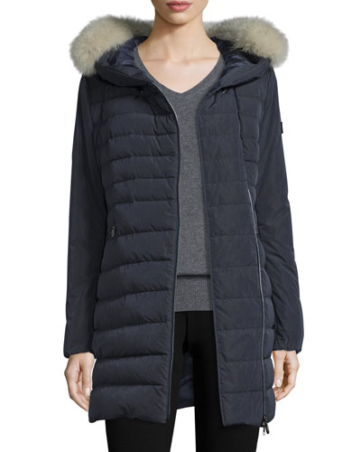 Hooded Asymmetric-Zip Puffer Jacket, Navy
