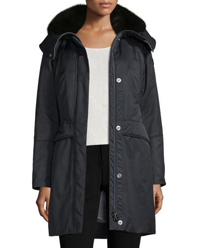 Hooded Belted Fur-Trim Parka, Navy