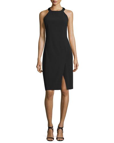 Sleeveless Racerback Sheath Dress, Black