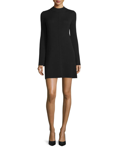Trudie Ribbed Mock-Neck Wool Dress