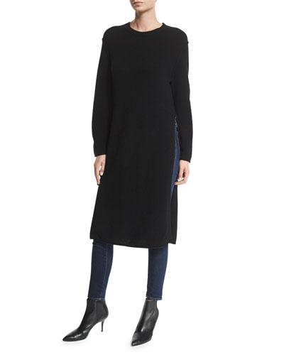 Knox Wool/Cashmere-Blend Side-Slit Sweater