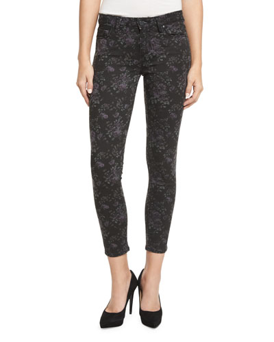 Verdugo Floral-Print Skinny Ankle Jeans, Black Pattern