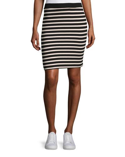 Striped Jersey Pencil Skirt, Rust/Black