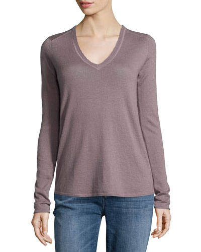 V-Neck Raw-Edge Cashmere Tee, Incense