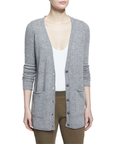 Cashmere V-Neck Donegal Cardigan, Gray