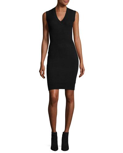 Sleeveless Stretch Tank Dress, Black