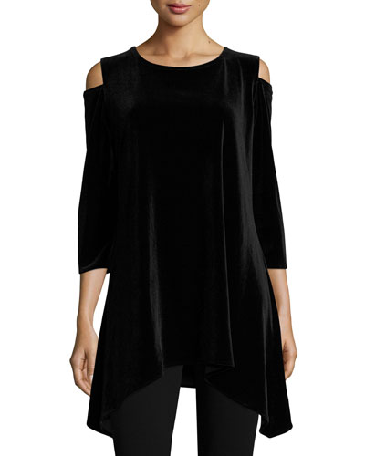 Cold-Shoulder Velvet Tunic, Plus Size