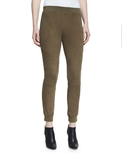 Stretch Suede Track Pants, Army