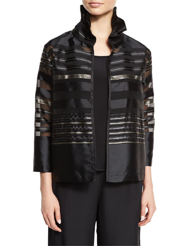 Petite Striped Organza Bracelet-Sleeve Jacket, Multi/Black
