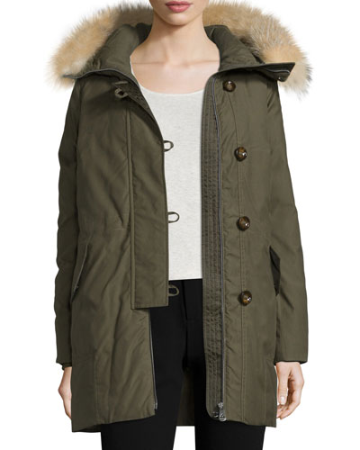 Hooded Fur-Trim Parka, Olive