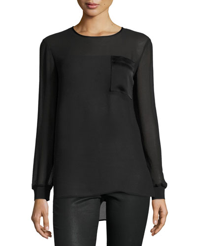 Long-Sleeve Chiffon Pullover Blouse, Black