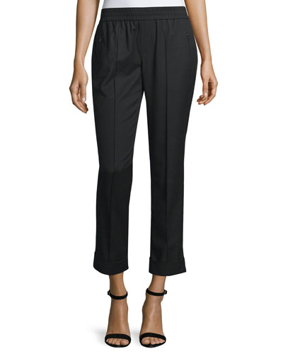Easy-Fit Cropped Straight-Leg Pants, Black