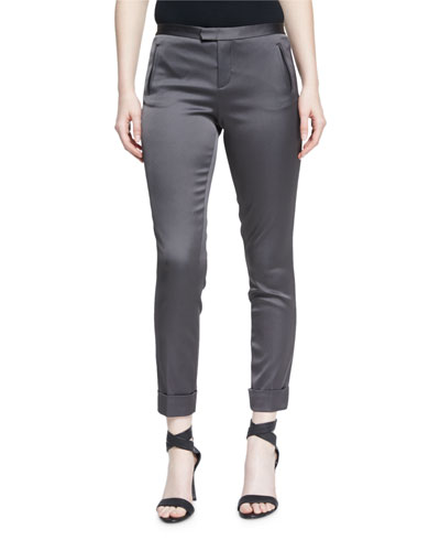 Stretch Satin Classic Slim Pants, Dark Gray