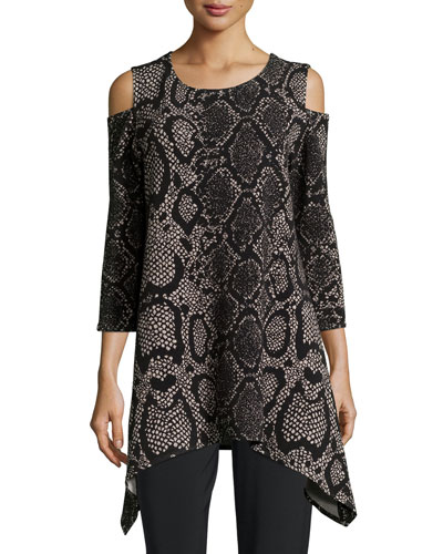 Petite Rattle & Roll Cold-Shoulder Animal-Print Tunic