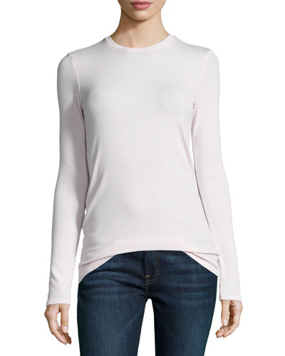 Long-Sleeve Crewneck Jersey Tee, Dusty Pink