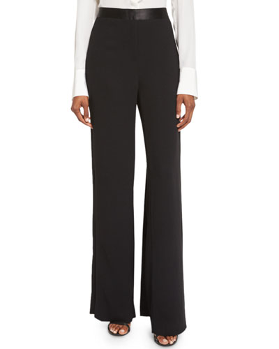 Satin-Trim Wide-Leg Trousers, Black