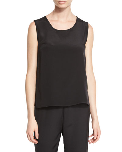 Mid-Length Silk Crepe Tank Top, Black, Petite