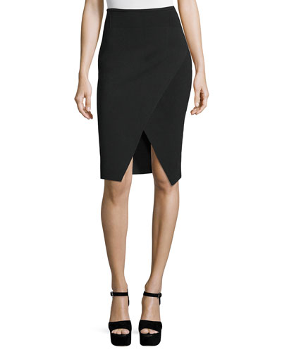 Compact Knit Overlap Pencil Skirt