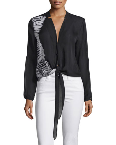 Printed Tie-Front Blouse, Black/White