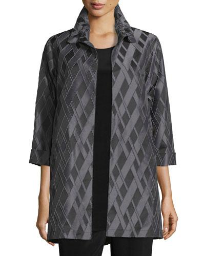 3/4-Sleeve Diamond Jacquard Topper Jacket, Petite