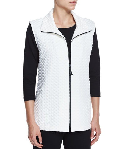 Diamond-Quilted Zip-Front Vest, White, Petite