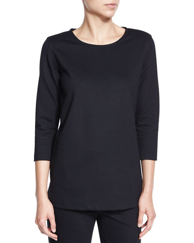 3/4-Sleeve Lux Stretch-Cotton Ponte Top, Petite