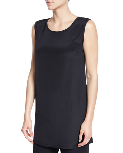 Ponte Knit Longer Tank, Black, Plus Size