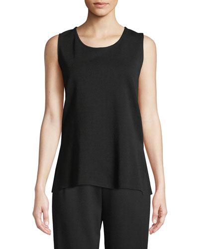 Ponte Knit Longer Tank, Black