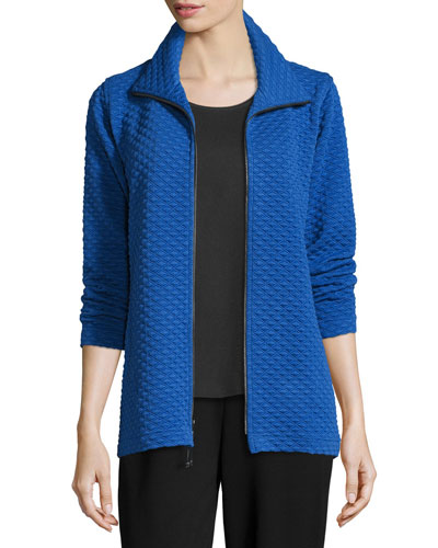 Diamond-Quilted Zip-Front Jacket, Royal, Plus Size
