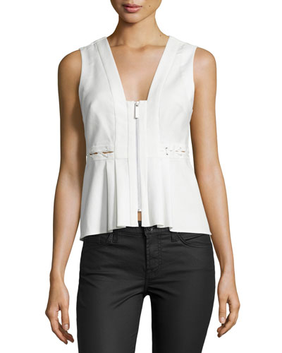 Front-Zip Sleeveless Peplum Top, White