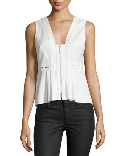 Front-Zip Sleeveless Peplum Top, White