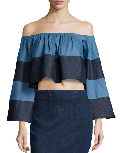 Off-The-Shoulder Striped Chambray Crop Top