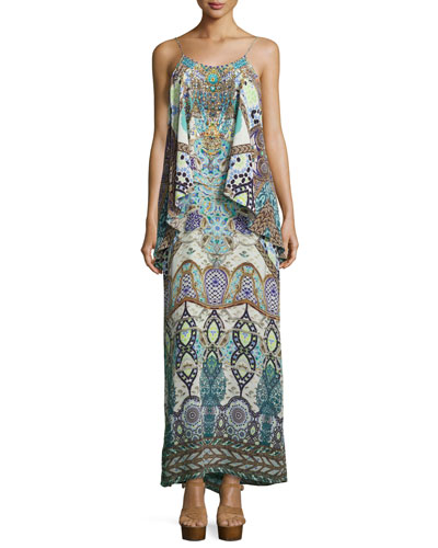 Embellished Layered Maxi Dress, Casablanca