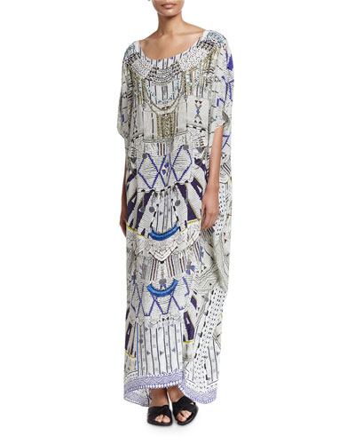 Printed Embellished Round-Neck Maxi Caftan Coverup, Singing Wells
