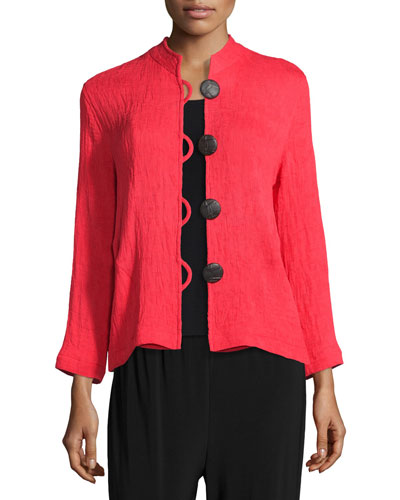 Mini-Pleated Mandarin-Collar Jacket, Plus Size