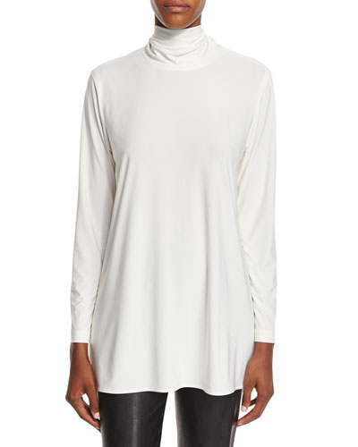 Mock-Neck Back-Zip Knit Tunic, Off White, Plus Size
