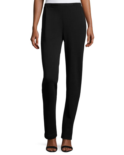 Flat-Knit Wool Slim-Leg Pants, Black, Plus Size