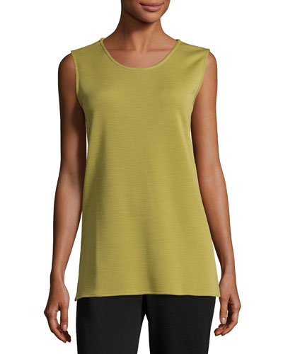 Long Knit Wool Tank, Leaf, Plus Size