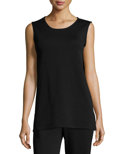 Long Wool Knit Tank, Black
