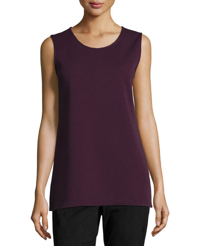Long Knit Wool Tank, Plum, Plus Size