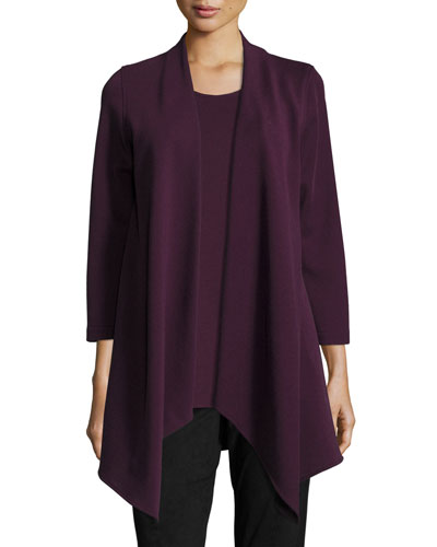 Flat-Knit Wool Draped Jacket, Plum, Petite
