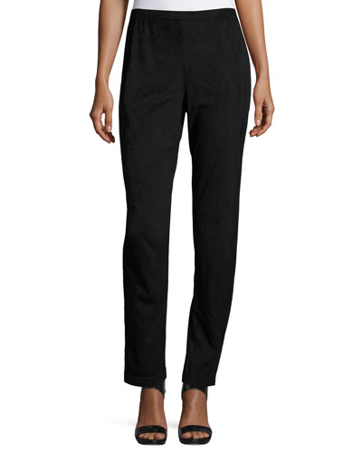 Sueded Skinny Pants, Black, Petite